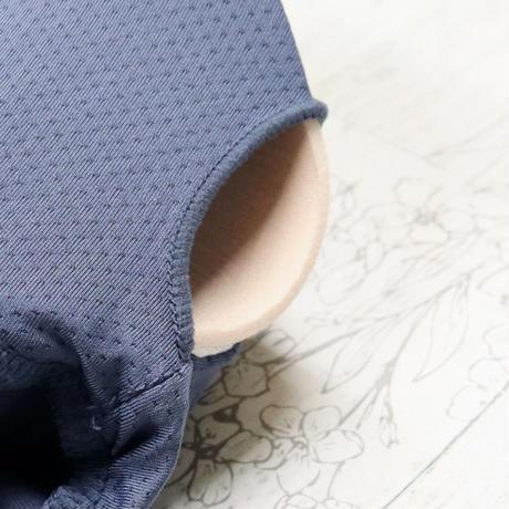 送料無料♡即納 【トップス】パット付きロングスリーブ×ブルー ヨガ トレーニング フィットネス ウェア