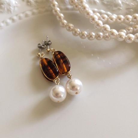 vintage brown marble&pearls pierce