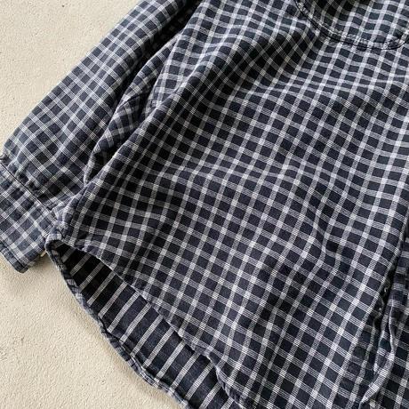 バンドカラーチェックシャツ