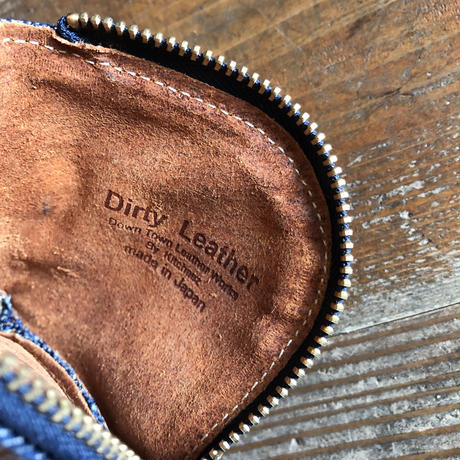 Dirty Leather  Denim coin case①