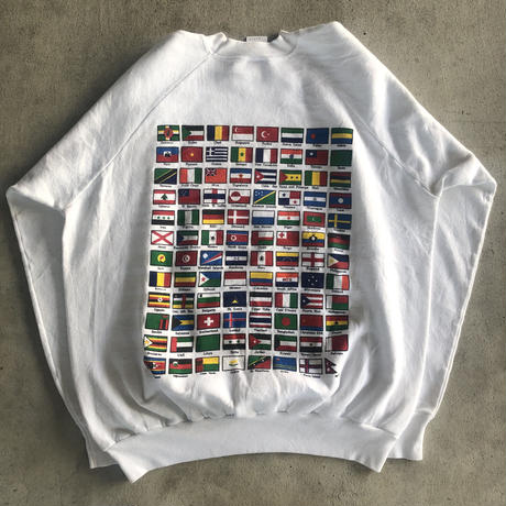 〜90's Peace On Earth 国旗プリントスウェット XXL