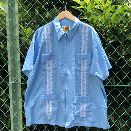 半袖キューバシャツ  水色