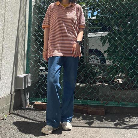 POLOオレンジ細ボーダーポロシャツ