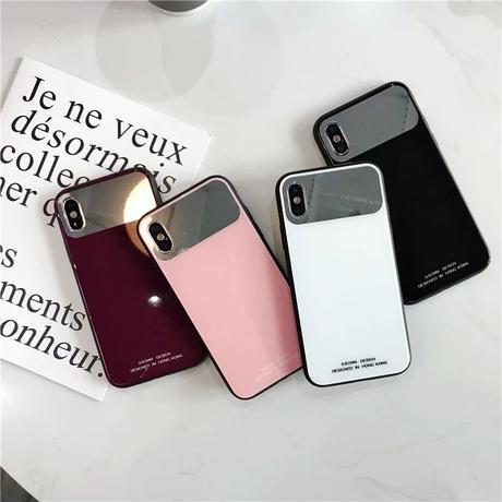 ミラー付き iPhoneケース スマホケース 韓国 シンプル 鏡 便利 流行り 6 8 X iPhone6 iPhone6s iPhone7 iPhone8 iPhoneX iPhoneXS