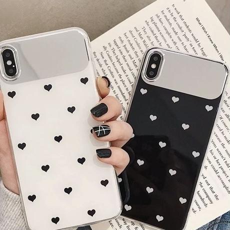 ハート柄 アイフォンケース 韓国 女子 ケース スマホ 便利 鏡 ミラー かわいい 流行り おしゃれ iPhone X XS XSMAX XR iPhone6 iPhone8 plus