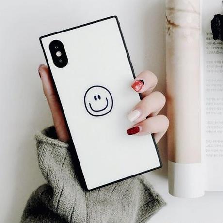 スマイル スクエアケース iphonecase スマホケース アイフォンケース 韓国 通販 カバー 人気 おしゃれ ニコちゃん スマイリー シンプル 8 XR iPhoneX iPhoneXR