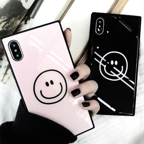 ニコちゃん スクエアケース iPhoneケース アイフォンケース 韓国 流行り 人気 おすすめ スマイリー ニコちゃん スマイル iphone iPhone8 iPhoneXS iPhoneXR