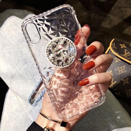 キラキラ アイフォンケース iPhoneケース 韓国 カバー 人気 海外 女子 リング付き スマホスタンド ストーン デコ 6 7 8Plus XS MAX XR iPhone6s iPhoneX