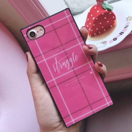 チェック柄 iPhoneケース スクエアケース 韓国 流行りかわいい おしゃれ ラインストーン キラキラ アイフォン 7plus 8plus iPhone6sプラス iPhone8プラス