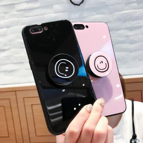 ニコちゃん  iphoneケース スマホケース アイフォンケース 韓国 スマイリー スマイル シンプル 便利 落下防止 リング スマホリング スマホスタンド 7 7Plus XS iPhone7