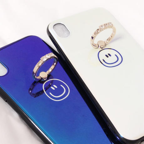ニコちゃんマーク アイフォンケース スマホリング リング付きケース スマイル にこちゃん スマイリー 可愛い キラキラ スタンド IPHONE 6 6s 7 8 X XS XSMAX XR テンアール