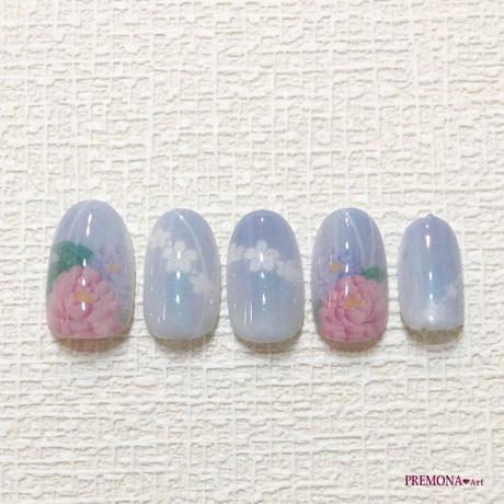 【10枚セット】和柄・牡丹(ブルー)/SET270-279
