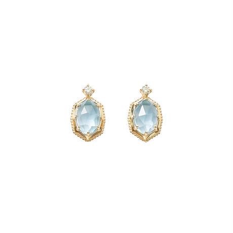 QIREINI K10YG ダイヤモンド スカイブルートパーズピアス