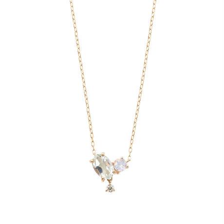 QIREINI K10YG ダイヤモンド グリーンアメジスト ロイヤルブルームーンストーン ネックレス