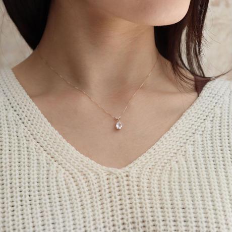 QIREINI K10YG ダイヤモンド/ホワイトトパーズネックレス