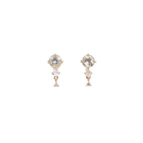 QIREINI K10YG ダイヤモンド/グリーンアメジスト/ロイヤルブルームーンストーンピアス