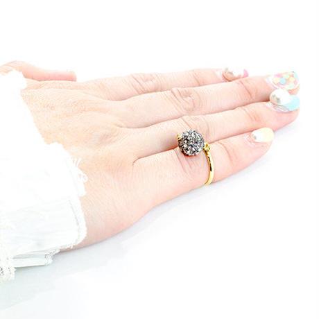 ラインストーンパヴェピンキーリング(ブラックダイヤモンド)