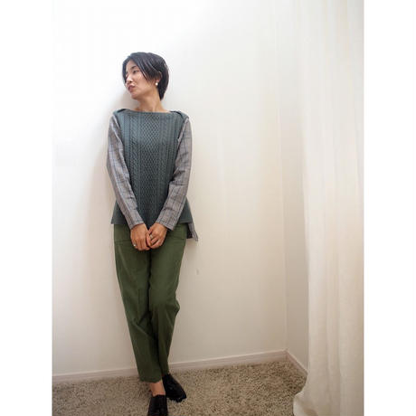 cable check Pullover   ashgreen
