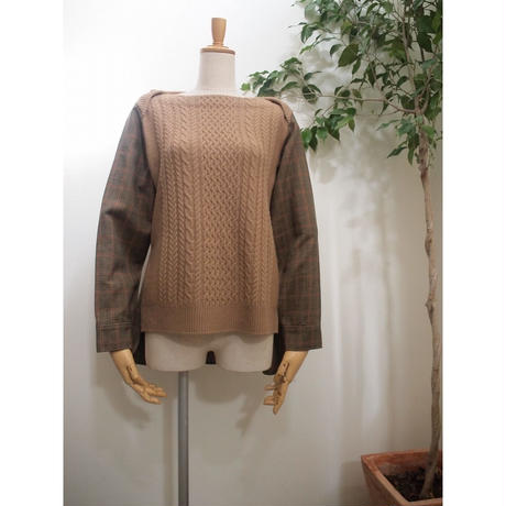 cable check Pullover  camel