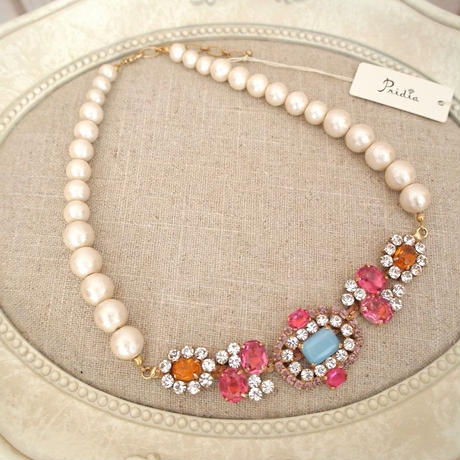 cotton pearl bijoux necklace 032⑥