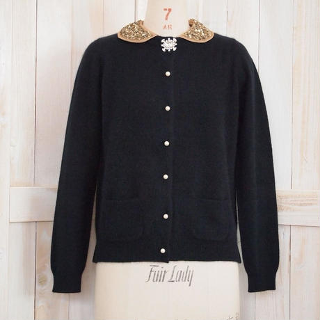 angora collar Cardigan beige collar + clear brooch