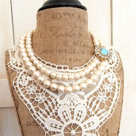 cotton pearl clasp necklace aquamarine
