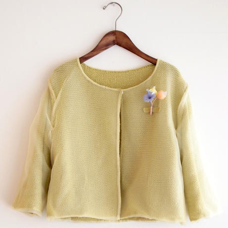 organdy knit Cardigan mustard