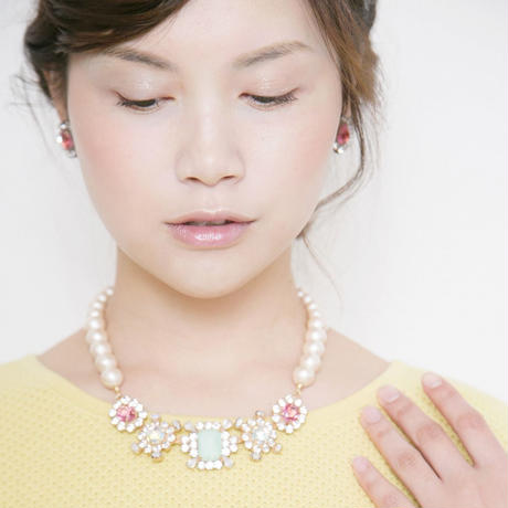 cotton pearl bijoux necklace 032③