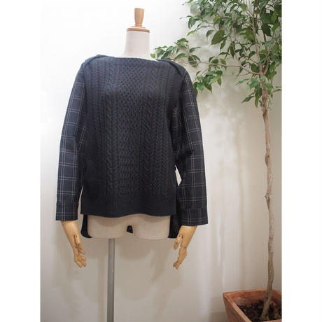 cable check Pullover   brown chacoal