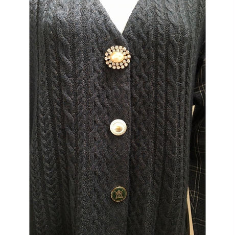 【限定アイテム】cable check Cardigan   brown chacoal