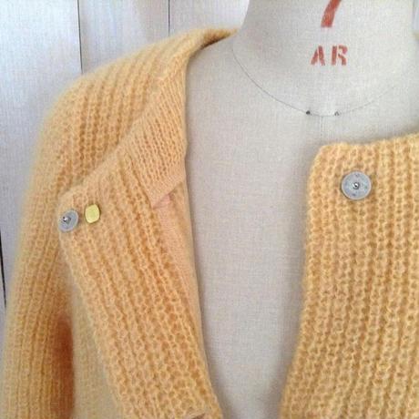 mohair bijoux Coat yellow  blue bijou