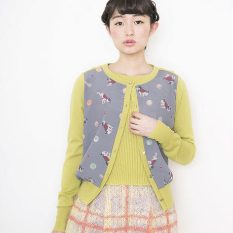 【SALE】terrier print Cardigan lime