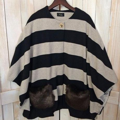 【SALE】fur pocket cape black x beige