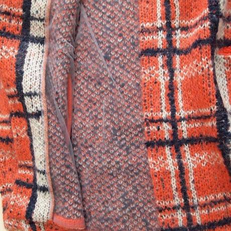 【SALE】mohair check coat orange pink check