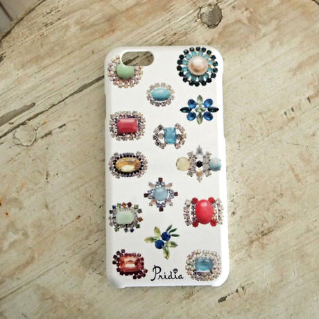 【メール便OK】bijoux print iPhone cover 6 white