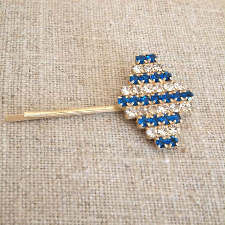 bijou hair Pin blue x clear stripe