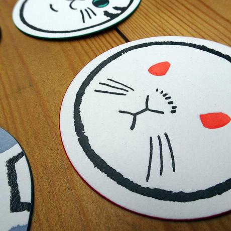 KPM043 どうぶつ丸型カード(ふくろう・うさぎ・ねこ・いぬ・うし・ねずみ)