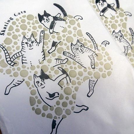 KPM048スケートねこの紙袋(5枚入り)