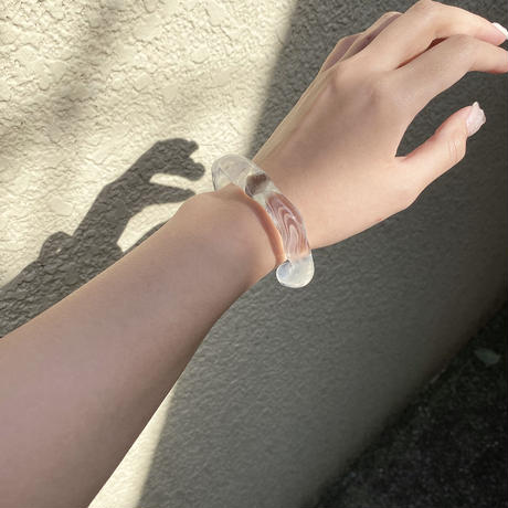 glass bangle 【 white marble 】