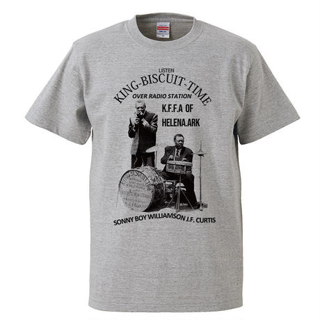 【Sonny Boy Williamson-サニーボーイウィリアムスン/KING BISCUIT TIME】 5.6オンス Tシャツ/GY/ST- 371