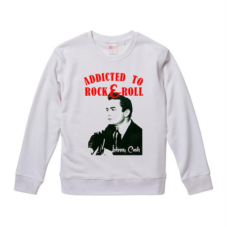 【 ADDICTED TO ROCK'N'ROLL /Johnny Cash-ジョニー・キャッシュ】  9.3オンス スウェット/WH/SW- 374