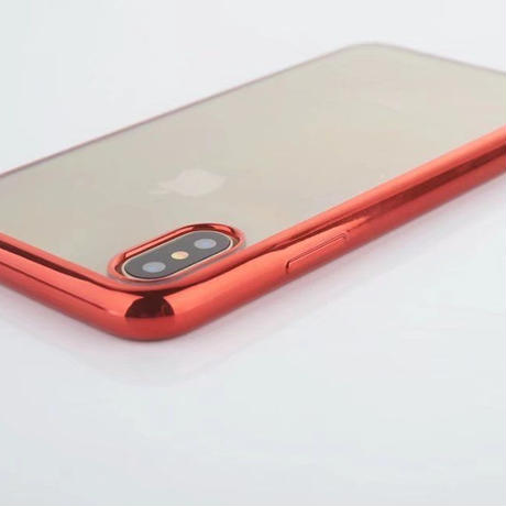 iPhone XR XS XS-MAX メタリック バンパー ソフト クリアケース