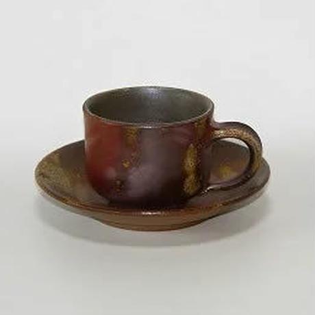 備前焼 五郎辺衛窯 【コーヒーカップ角+ソーサーセット】 製造元より直送のため、代引でのお支払はお受けできません。
