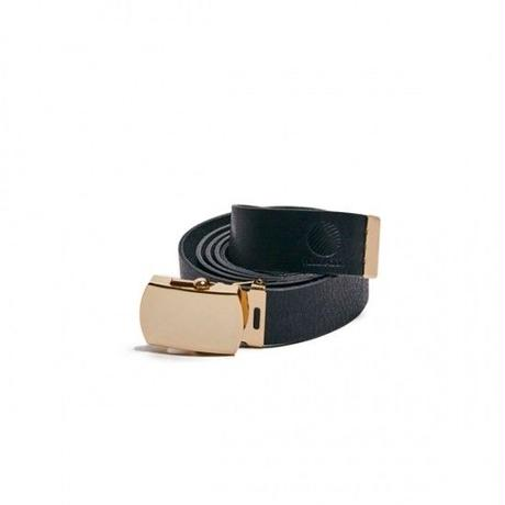 Hellrazor Logo leather Belt - Black/GOLD