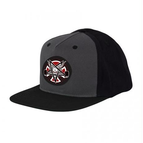 Indy X Thrasher Pentagram Cross Snapback Hat  Grey/Black