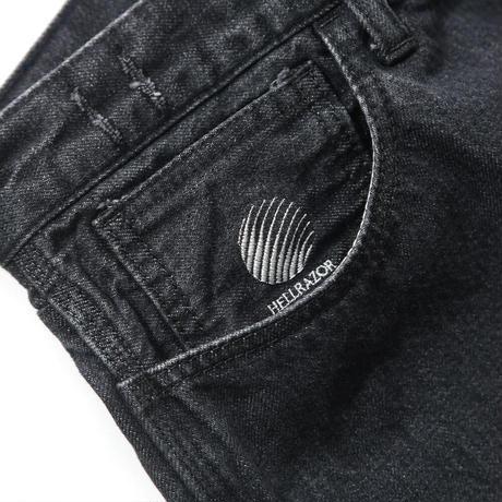 HELLRAZOR  BAGGIE DENIM PANTS WASH BLACK
