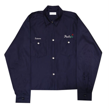Peels Rose Patch Long Sleeve Work Shirt  Navy