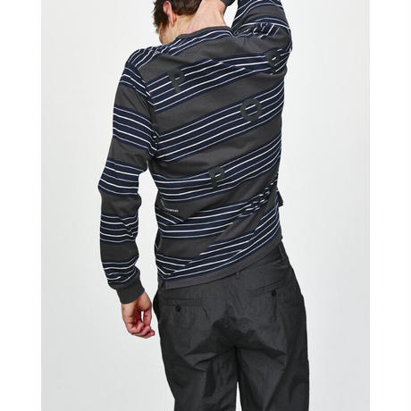 POP TRADING CO STRIPED LONGSLEEVE ANTHRACITE/NAVY
