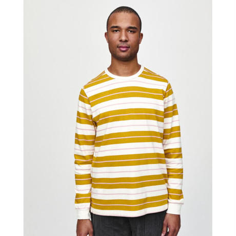 POP TRADING COMPANY STRIPED LONGSLEEVE SPRUCE YELLOW/OFF WHITE