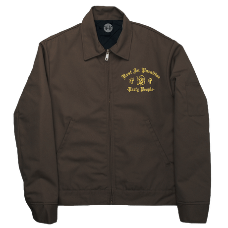 PARADISE NYC PARTY PEOPLE DICKIES JACKET (GOLD EMBROIDERY) BROWN